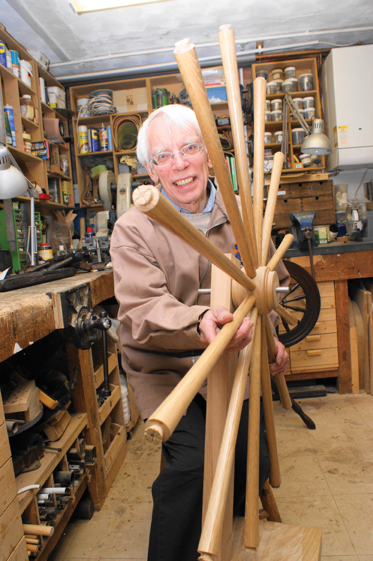 """David's latest commission is to make a 40"""" spinning wheel for the Long Draw Spinners."""