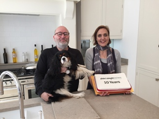 Plain & Simple owner Harvey Wilson, sales-design consultant Heather Law and Louis, Harveys dog who regularly welcomes visitors to the shop.j