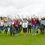 Withington Girls School pupils celebrate outstanding GCSE results with headmistress Mrs Sue Marks