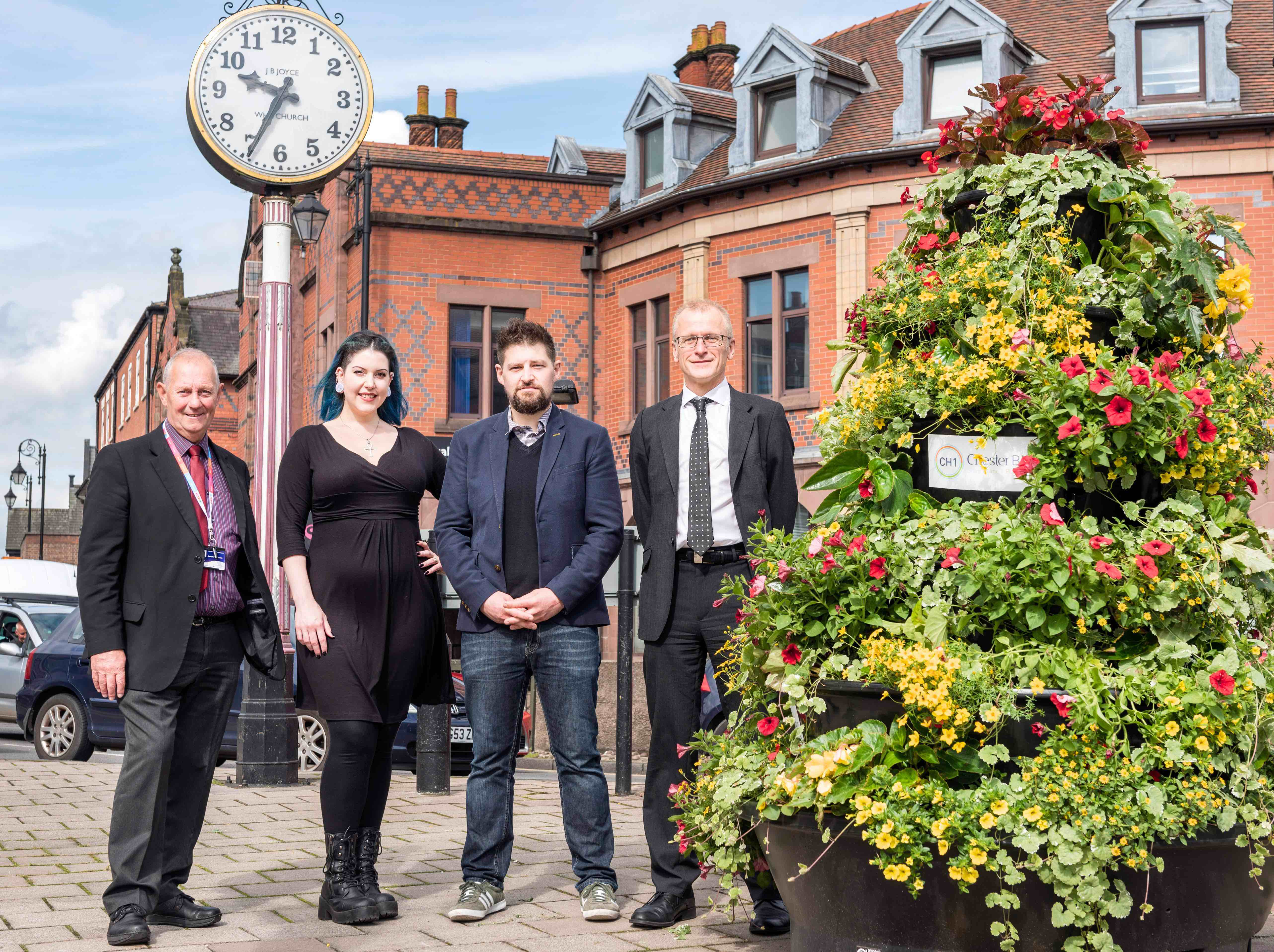 Pictured with the new planters (right to left): Nick White, City Centre Manager at CH1ChesterBID, Jake Potter, chef/owner of Atina Kitchen, Samantha Taylor, Manager of Lee Louise and Cllr Brian Clarke, Cabinet Member for Economic Development and Infrastructure at Cheshire West and Chester Council.