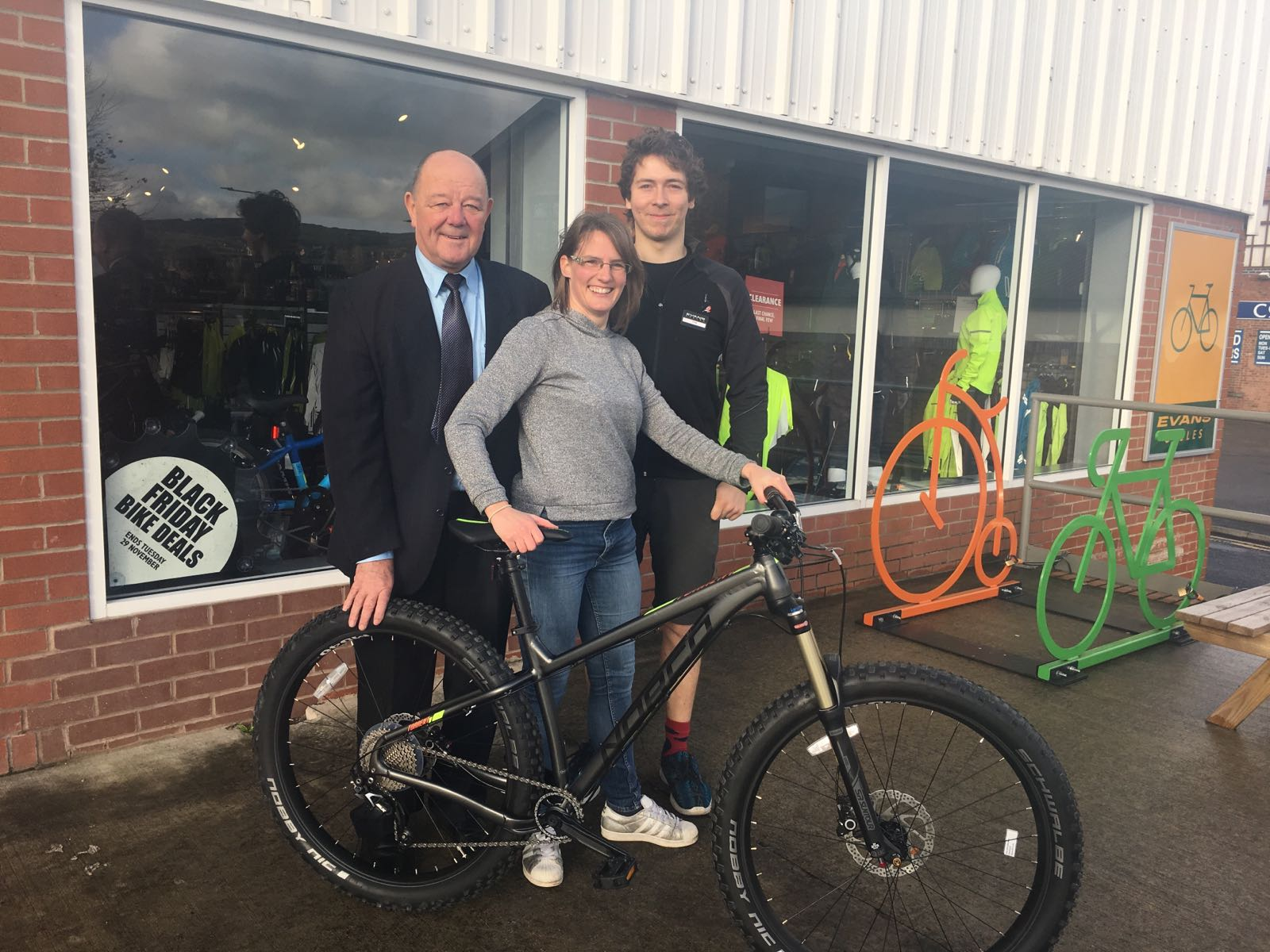 Councillor David Brown and Mandy Willett with Craig Marden from Evans Cycles