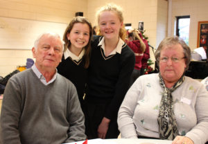 LtoR: Mr Peter Johnson, students Annabel Traegen and Orla Walshe, and Mrs Alma Johnson (002).JPG