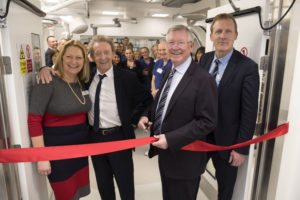 Sarah Whittaker (Imaging unit manager), Denis Law, Sir Alex Ferguson and Simon Shepherd (executive director)
