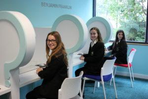 Left to right are Year 9 pupils Natasha Oldbury, Lauren Hinton and Karina Sodha