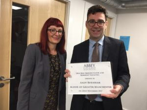 Left-to-Right-Principal-at-Abbey-College-Manchester-with-Mayor-of-Greater-Manchester-Andy-Burnham.