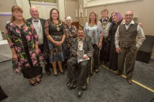 Cllr Neil Forbes, Mayor of Knutsford (seated) with L-R Mayoress of Knutsford, Jacqueline Forbes, Cllr Samantha Moss, Mayor of Middlewich, Cllr Lesley Smetham, Deputy Mayor of Cheshire East, Cllr Sarah-Jane Gilmore, Mayor of Poynton, Cllr Charles Booth, Mayor of Congleton and their Consorts.