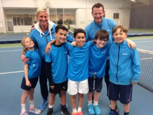 HLTC Under 9 Cheshire County Champions – Head Coach Emma Silcock, Coach Nick Gore, Susanna Thompson, Mickey Smutney, Marco Greig, Nathan Warner and Arthur Gething.