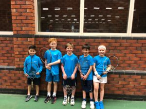 HLTC Under 8 Cheshire county finalists - Leon Moreton, Oliver Dobson, Charlie Warburton, Marco Kirkos and Skye Thomas