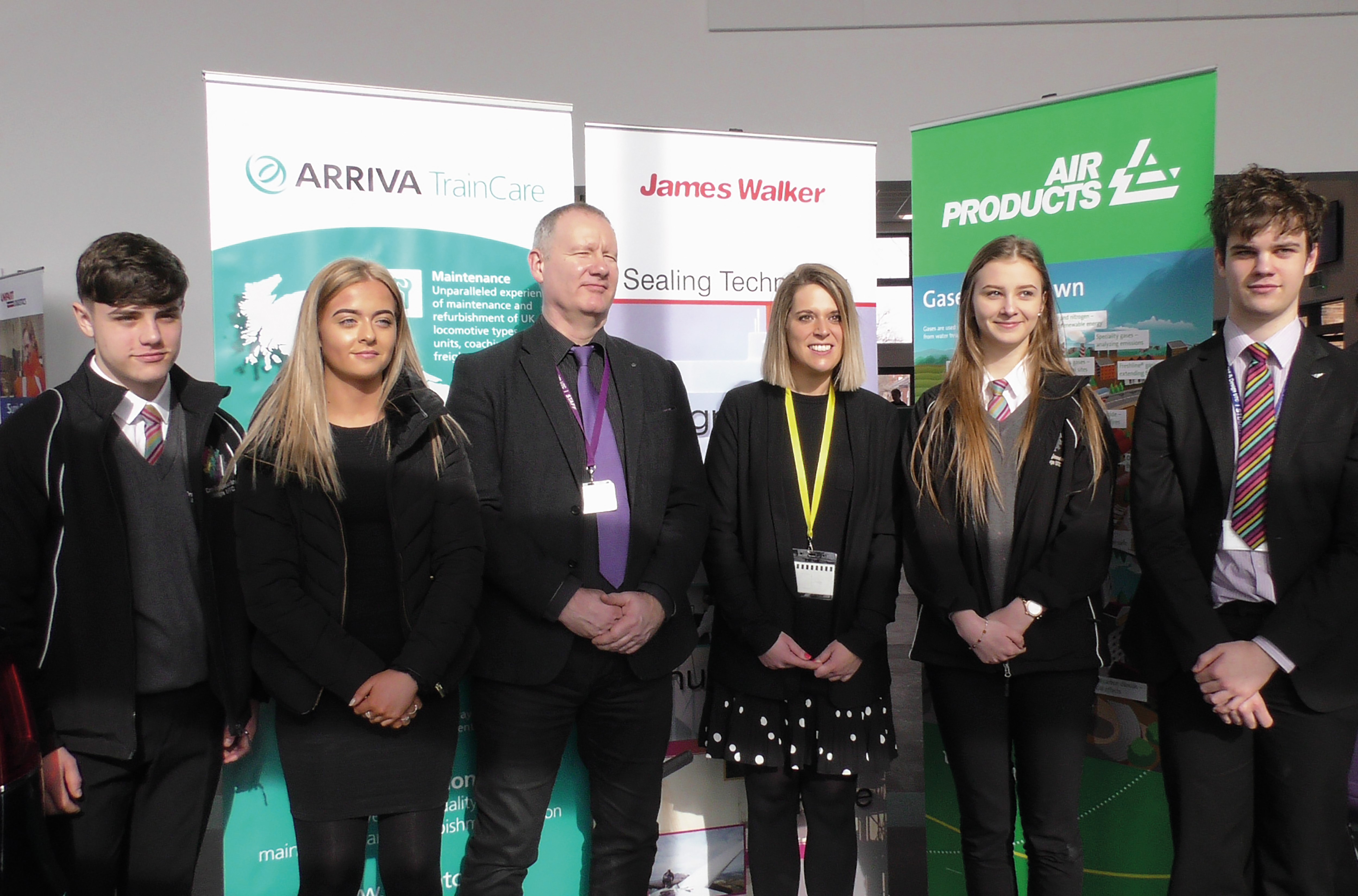 (L-R) Year 10 Student - Harry (from Nantwich), Year 12 Student - Georgia - (from Crewe), David Terry, Principal, Crewe Engineering & Design UTC, Laura Smith, Member of Parliament for Crewe and Nantwich, Year 10 Student - Adrianna (from Crewe), Year 12 Student Thomas (from Sandbach) at Crewe UTC.