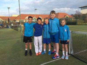 HLTC Under 10 Cheshire County Champions - Mickey Smutney, Marco Greig, Zach Thompson, Daniel Kilcoyne and Susanna Thompson.
