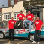 Gareth Williams left with his Team Lewis team mates with the car set for Benidorm or Bust (002)