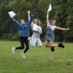 Image ©Licensed to Jon Parker Lee L to R - Manchester High School for Girls (MHSG) students Gabi Black, Lois Raduechel and Libby Ingleby are bustling with excitement today, 16th August, as A-level students celebrate success with a string of A*s and As in a range of subjects. The results have been truly impressive as 74% of all A-levels achieved at MHSG were the coveted A* and A, with 93% of all grades secured in the A* to B range. Picture by Jon Parker Lee