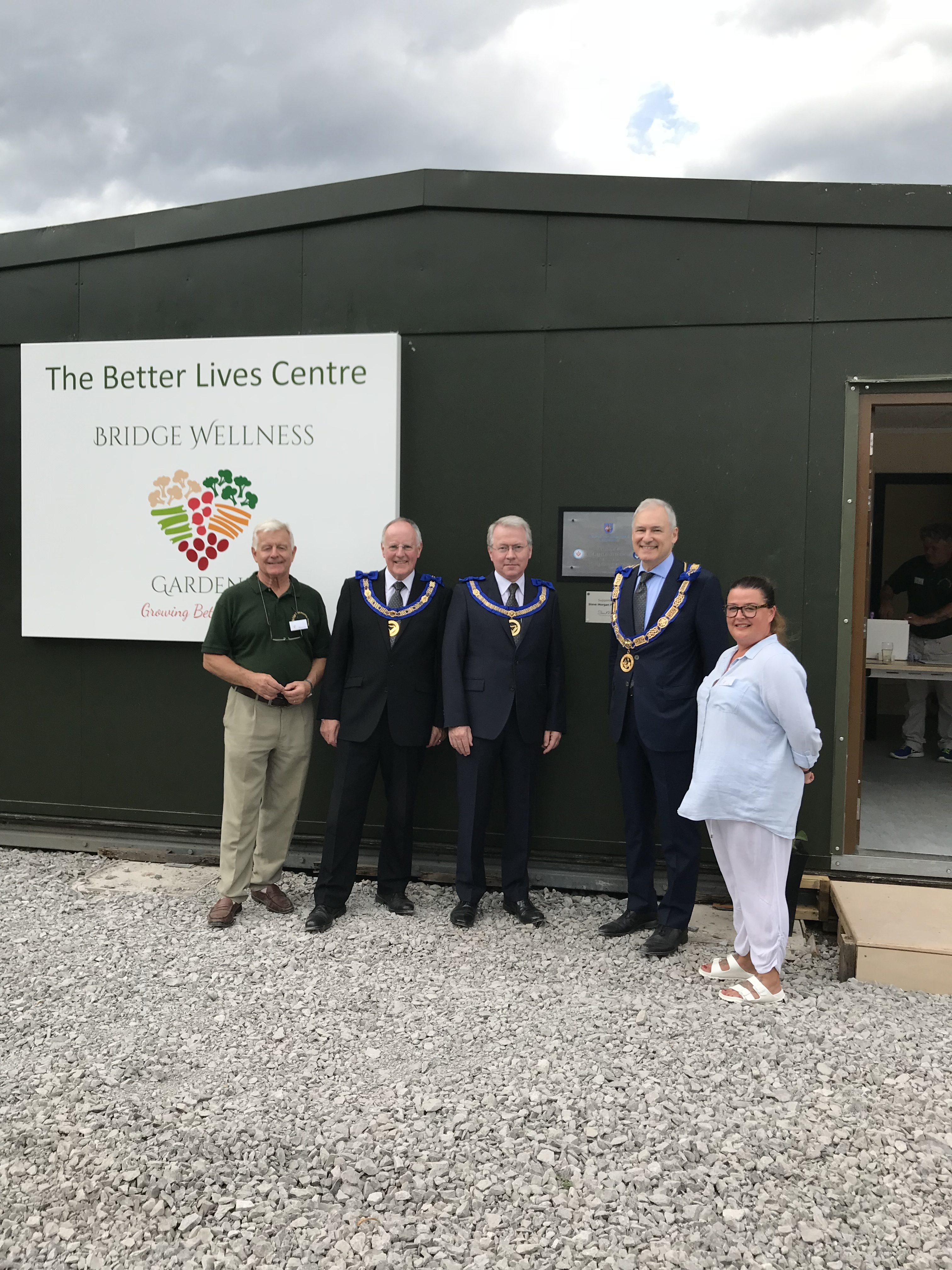 It's officially open! L – R Francis Ball, Chairman of Bridge Community Wellness Garden and Farm; Assistant Provincial Grand Master, Simon Palfreyman; Assistant Provincial Grand Master, Paul Massie; Provincial Grand Master, Stephen Blank; Claire Johnson, Manager, Bridge Community Wellness Garden and Farm.