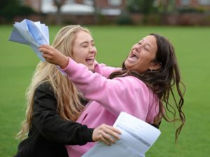 Manchester England 16 August 2018. Picture shows pupils at Withington Girls' School Manchester Katie Sheenhan (left), with Lydia Manville celebrate their A-level results. Photograph by Howard Walker / Alamy News Live.