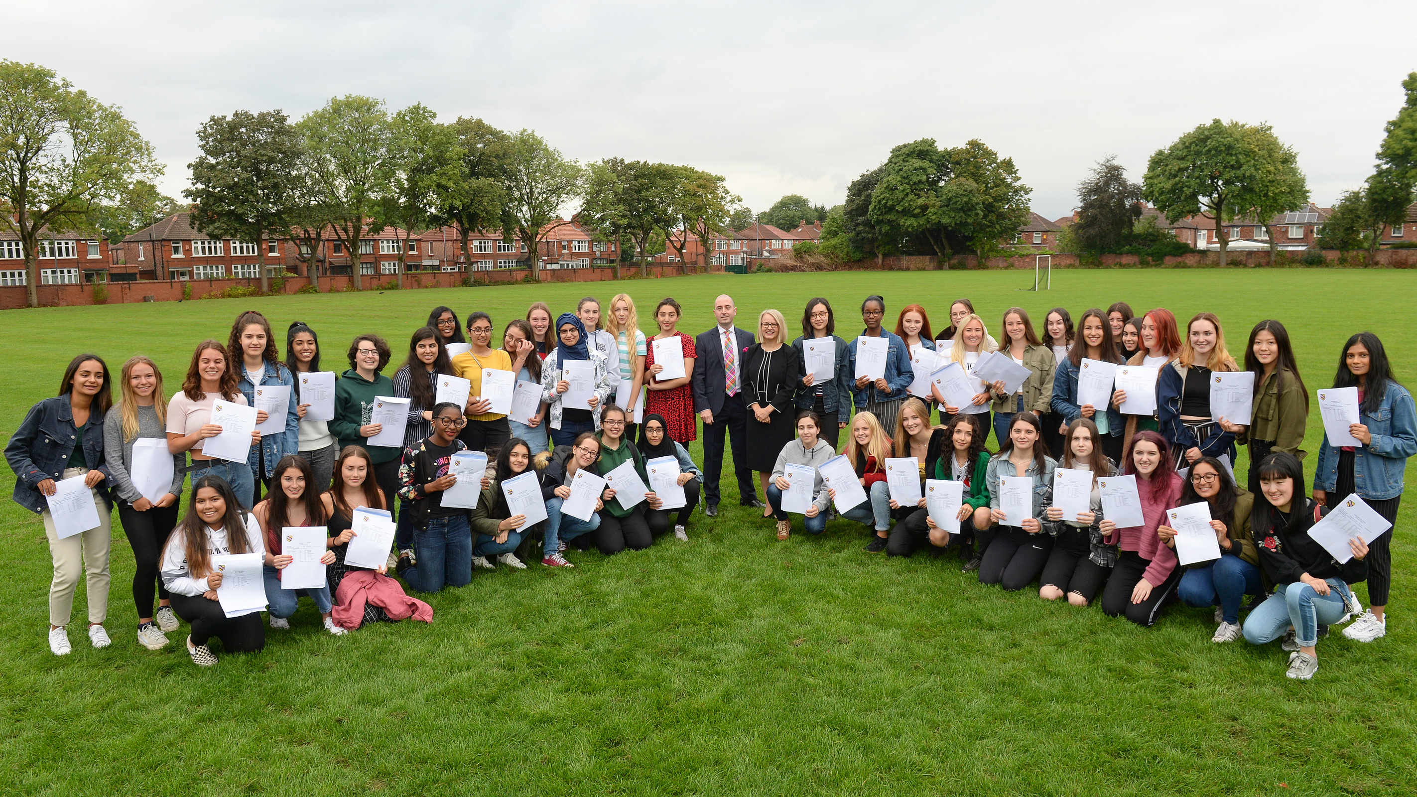 Along with WGS head of year-11, Mr Kirk Eckersall and headmistress Mrs Sarah Haslam, pupils are pictured after achieving an impressive set of GCSE results.