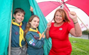 2.Ryan and Chloe Davies from First Great Sutton Scouts pictured with Redrow's Pauline Bennett