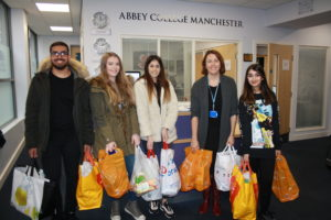 Abbey College Manchester Students with Their Donation for the Manchester Central Food Bank (002)