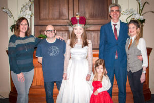 Rachel Bishop - Knutsford Beer Festival marketing, Paul Langley - Knutsford Beer Festival entertainment, Sophie Howarth – 2018 Knutsford May Queen - Eliza Bishop - wearing the May Day 'bridesmaid' costume, Ruben Pita - The Courthouse general manager, Mia Gibbons - The Courthouse