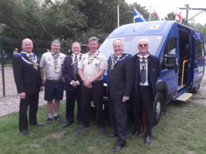Left to right – David Dyson, Craig Jones (Deputy County Commissioner), Dennis Talbot (Chairman of Cheshire Freemasons Charity), Steve Holloway County Commissioner, Freemasons Simon Palfreyman and Harry Knapton.