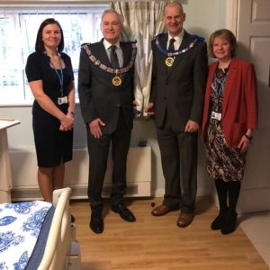 Pictured (l to R) In front of the new curtains are Julia Evans fundraising development manager, Cheshire Freemasons Stephen Blank and Jeff Cunningham and Teresa Nightingale, head of fundraising.