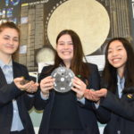 Year-9 pupils with extra-terrestrial rocks.