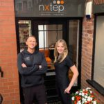 Laura Hagan (right) hands over the reigns to Nxtep Personal Training to new owner, Chris Nicklin