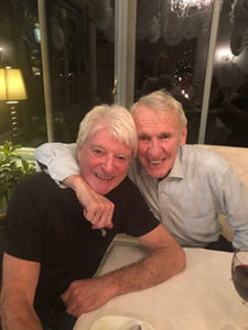 Willie and Paddy after dinner at Willies' Cheshire home.