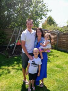 Pete Lloyd and wife Emma with son Andrew (4) and daughter Robyn (2).
